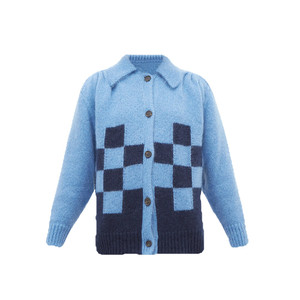 Point-collar Checked Mohair-blend Cardigan