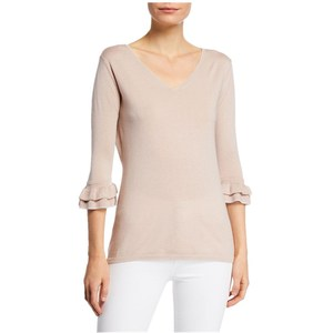 Cashmere & Metallic Trim V-Neck 3/4 Ruffle-Sleeve