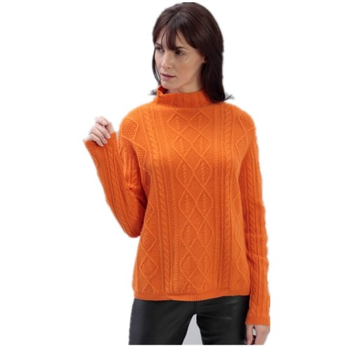 Cashmere sweater with straight cut collar