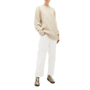 Contrast-panel Chunky-knit Wool Sweater