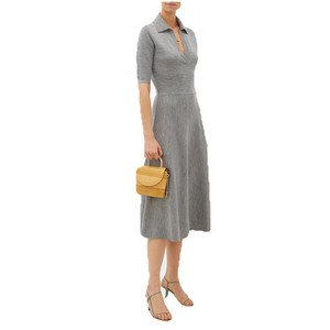Lapel collar Wool-blend midi Dress