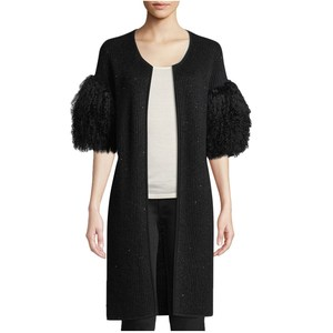 Luxury Sequin Cashmere Cardigan with Tibetan Fur Cuffs