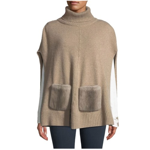 Cashmere Turtleneck Poncho with Fur Pockets