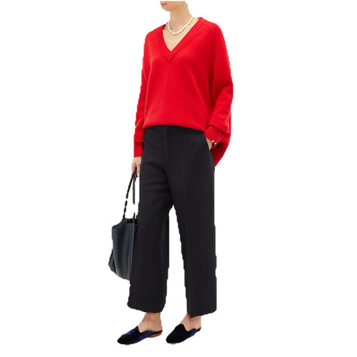 V-neck Stretch Cashmere Sweater