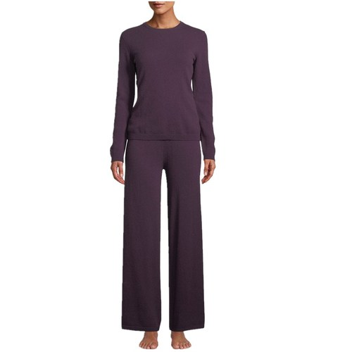 Cashmere Crewneck Side Stripe Sweater & Pant Lounge Set